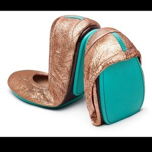 Tieks- rose gold glam flat ballet shoes